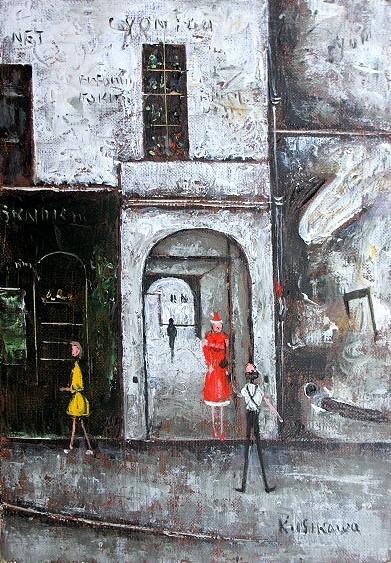 絵画 肉筆油絵 石川佳図 パリの下町 ソルボンヌ  油絵F4キャンパスのみ 送料無料