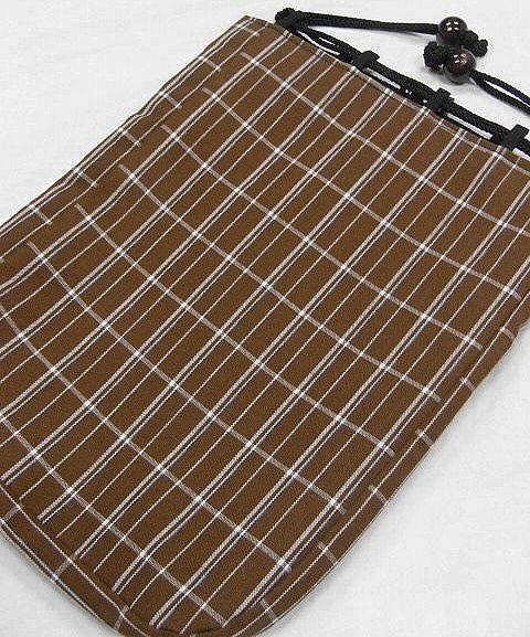 クリックポスト・送料無料 日本製 ウール・織生地の信玄袋 908 枯茶色格子 新品_画像2