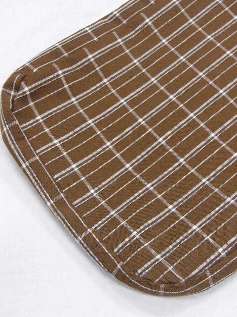 クリックポスト・送料無料 日本製 ウール・織生地の信玄袋 908 枯茶色格子 新品_画像4