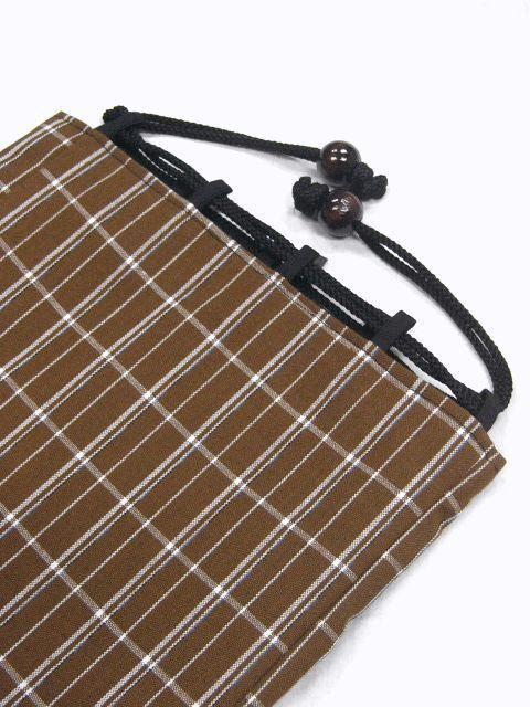 クリックポスト・送料無料 日本製 ウール・織生地の信玄袋 908 枯茶色格子 新品_画像3