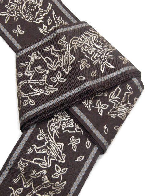 焦げ茶色・鳥獣戯画柄 二口マーク・森博多織謹製 正絹角帯 新品_画像5