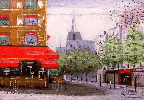 絵画 肉筆油絵 石川佳図 シャンゼリゼのカフェ  油絵F4キャンパスのみ 送料無料