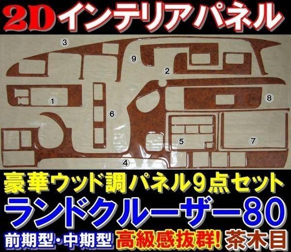 豪華2D ウッド調インテリアパネル ランクル80ランドクルーザー ランドクルーザー80 FJ・FZJ・HDJ・HZJ8系 前期型・中期型 カラー:茶木目_画像1