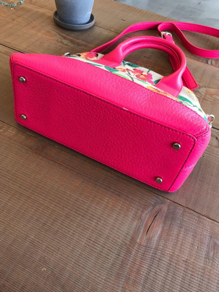 美品 kate spade ケイトスペード*花柄ハンドバッグ 2WAY ショルダー 鞄 ピンク系ベージュ系 レザー×キャンバス生地_画像5