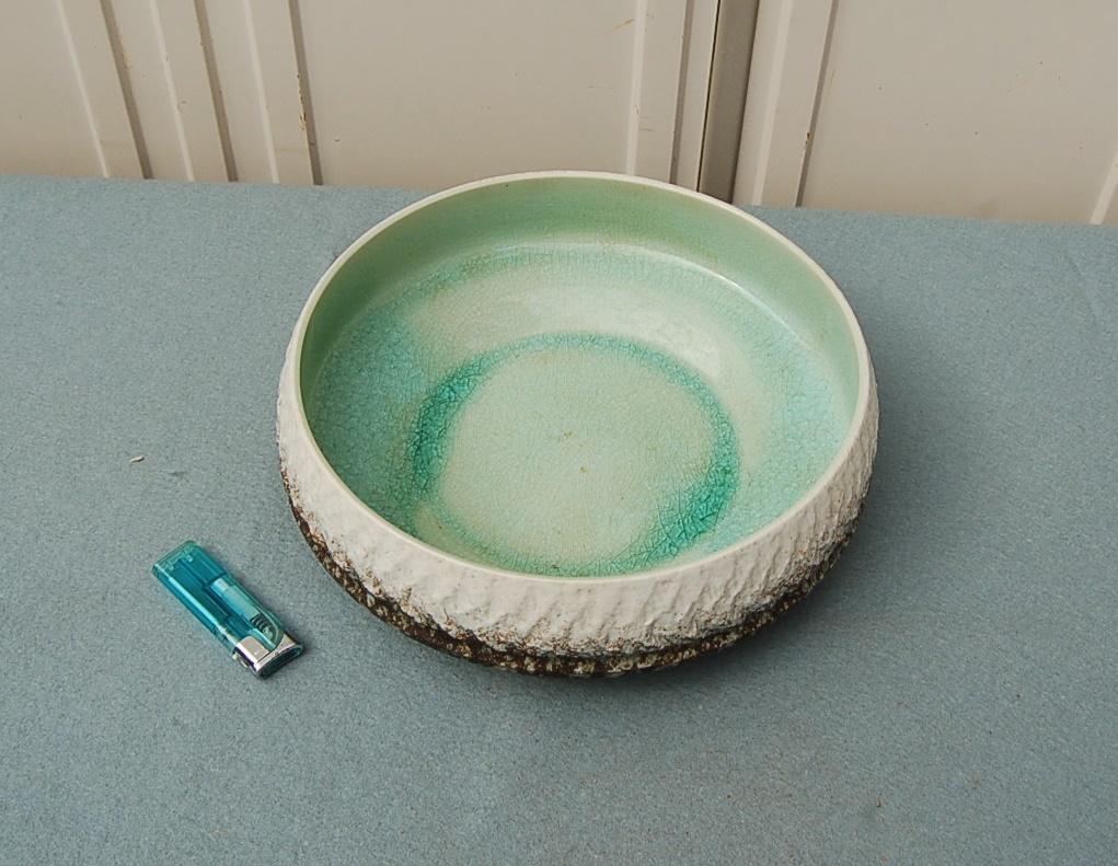 円形 水盤 中:ガラス釉 淡緑 縁縄目文