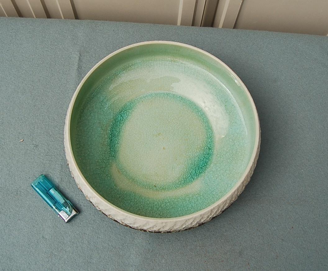 円形 水盤 中:ガラス釉 淡緑 縁縄目文_画像2