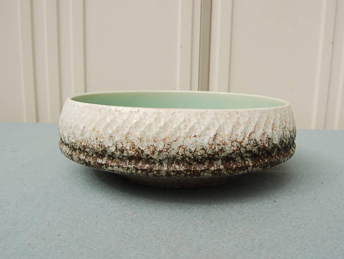 円形 水盤 中:ガラス釉 淡緑 縁縄目文_画像5