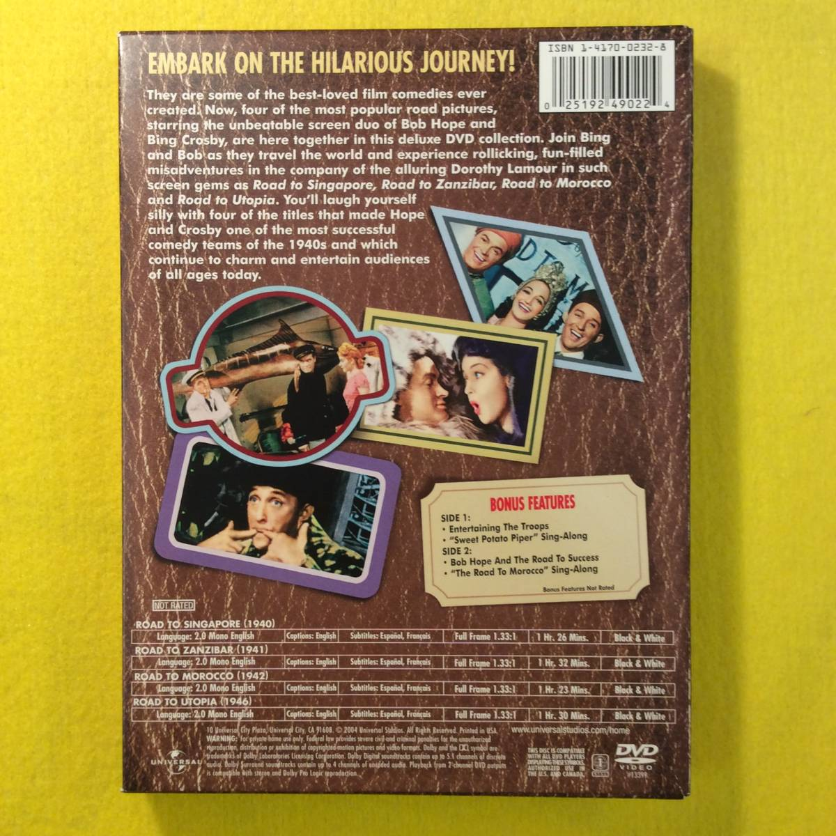 【DVD】珍道中シリーズ★ON THE ROAD with BOB HOPE and BING CROSBY★輸入盤・リージョン1★ボブ・ホープ/ビング・クロスビー★映画_画像2