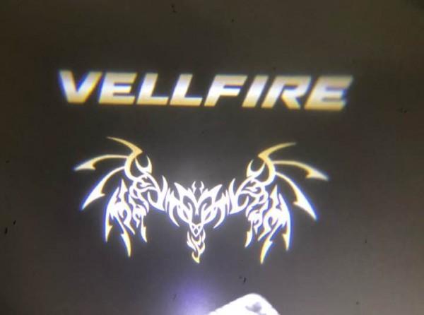 ヴェルファイア 20/30系 ロゴ LEDドアカーテシランプ 【 ゴールド 】