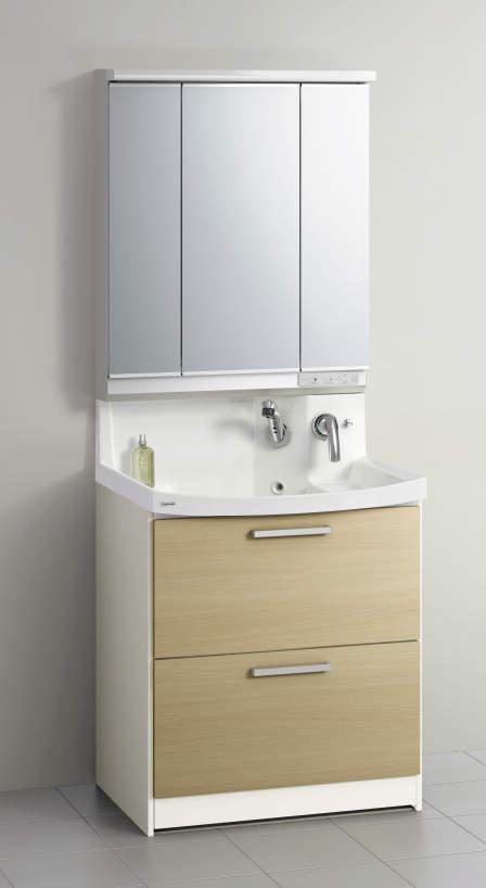 28 洗面台・ファンシオW750(オールスライド・3面鏡) ◆クリナップ