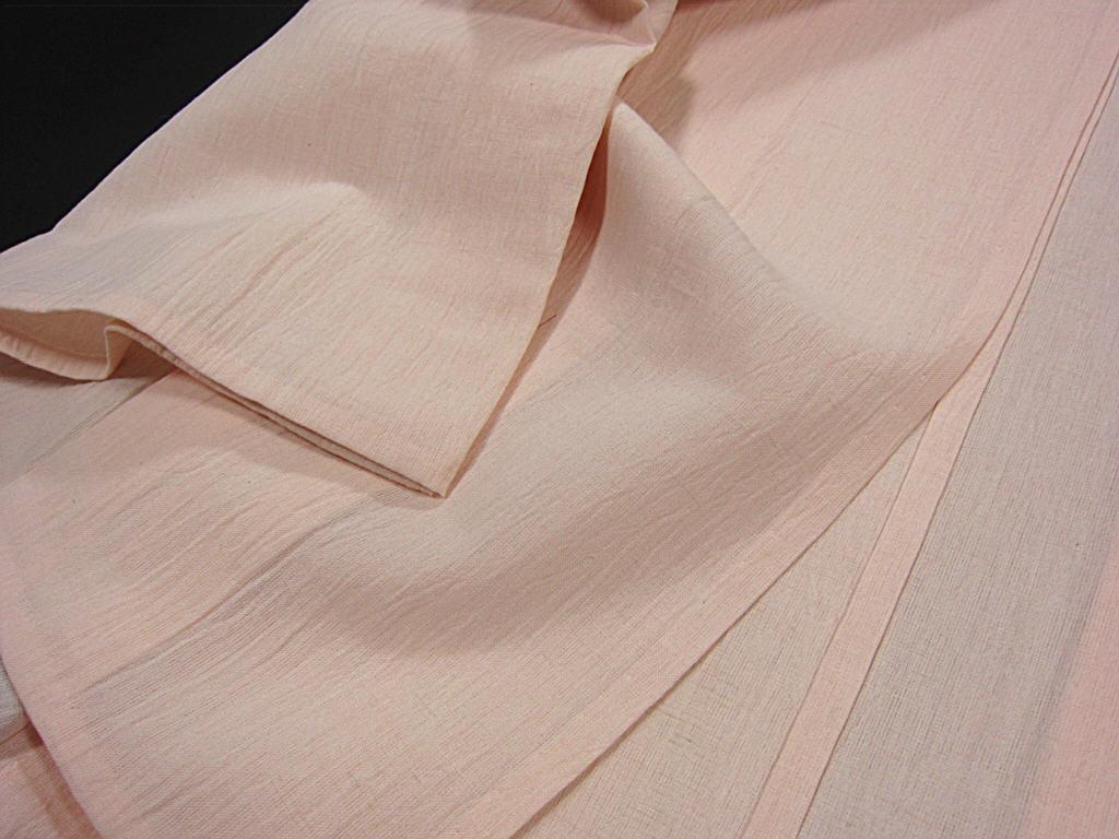 夏物 新品【御仕立上】小千谷織物 綿麻縮 仁伍ヱ門 吉新織物 薄ピンク_画像6
