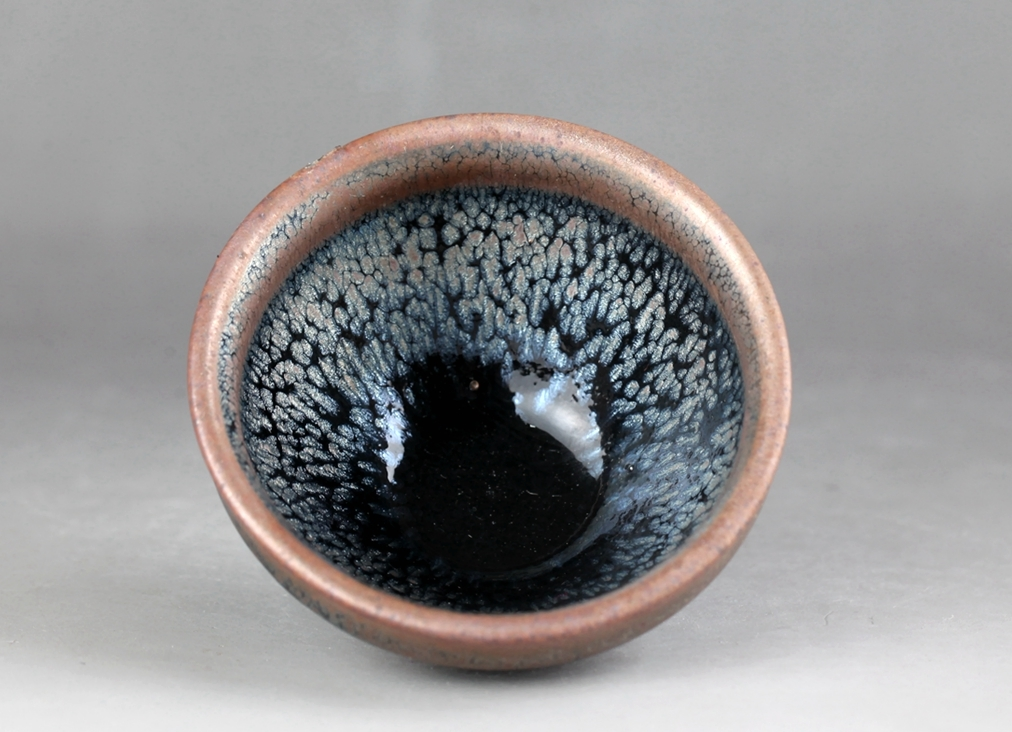 宋時代 建窯 窯變 天目茶碗 茶道具!直径8 cm、高さ4.5 cm _画像1