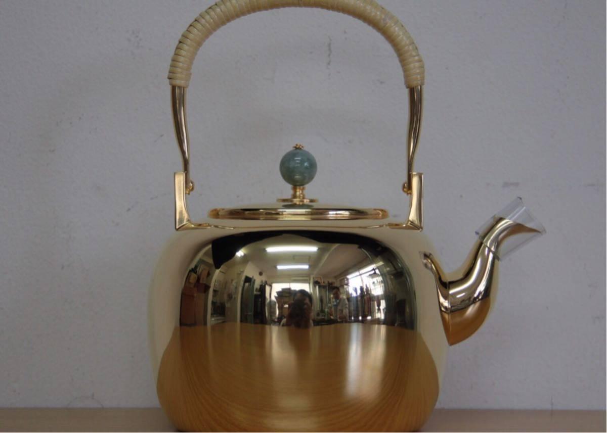 純銀鍍金 竹翁堂作 純銀刻印 共箱 未使用 湯沸 日本茶道具 煎茶 銀瓶 口径7cm 直径14cm 高20cm 重580g 容量1リットル_画像4
