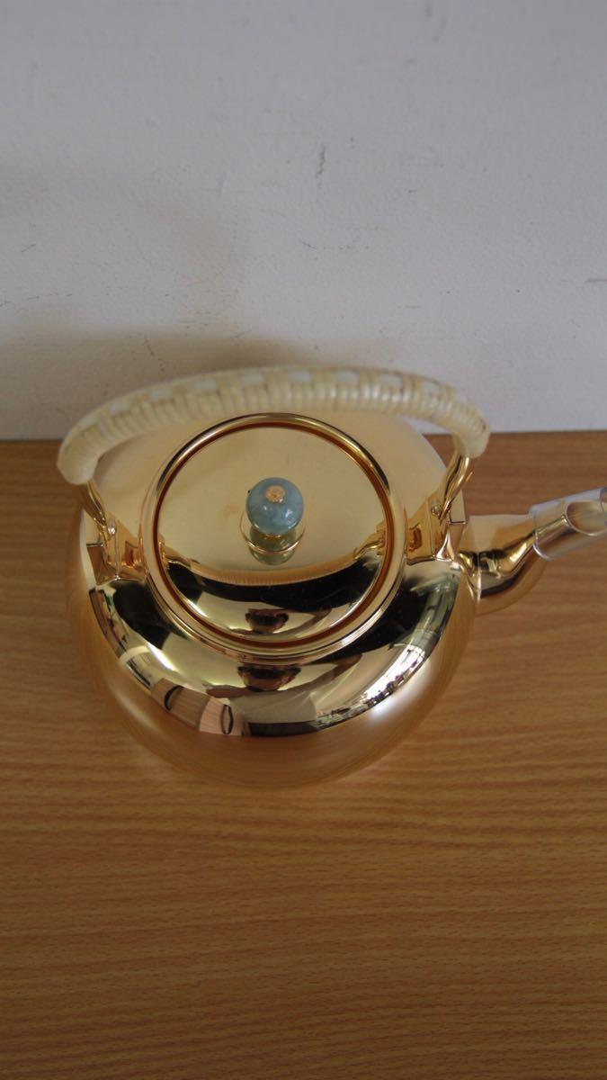 純銀鍍金 竹翁堂作 純銀刻印 共箱 未使用 湯沸 日本茶道具 煎茶 銀瓶 口径7cm 直径14cm 高20cm 重580g 容量1リットル_画像3