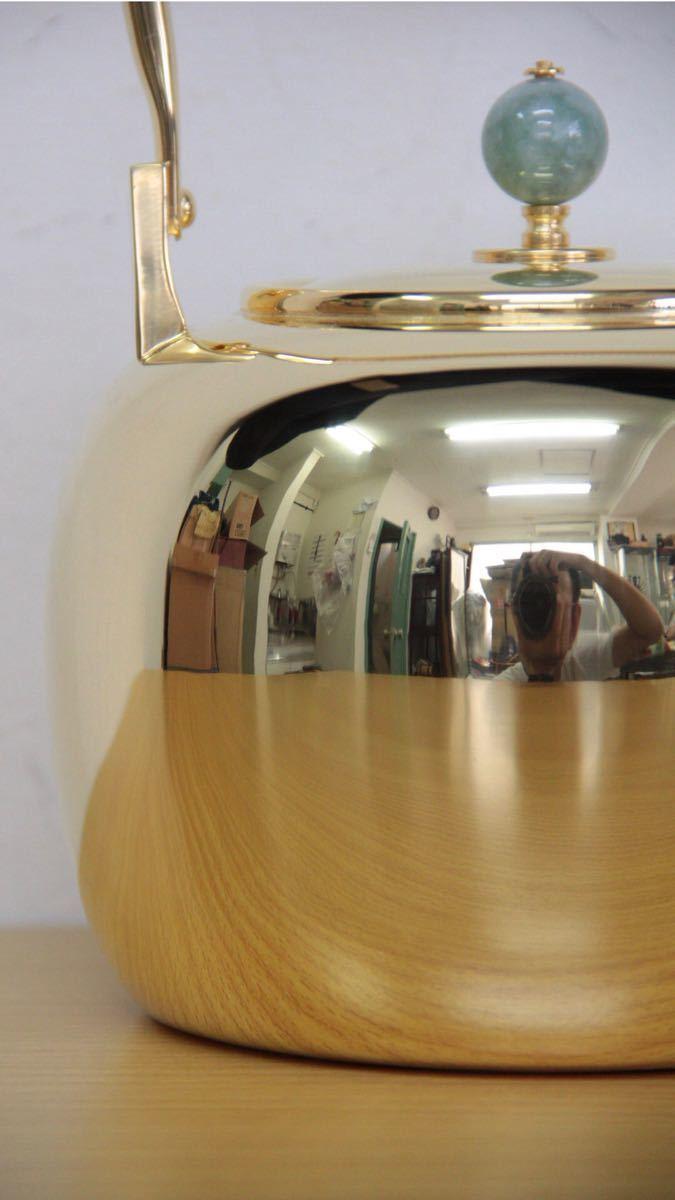 純銀鍍金 竹翁堂作 純銀刻印 共箱 未使用 湯沸 日本茶道具 煎茶 銀瓶 口径7cm 直径14cm 高20cm 重580g 容量1リットル_画像5