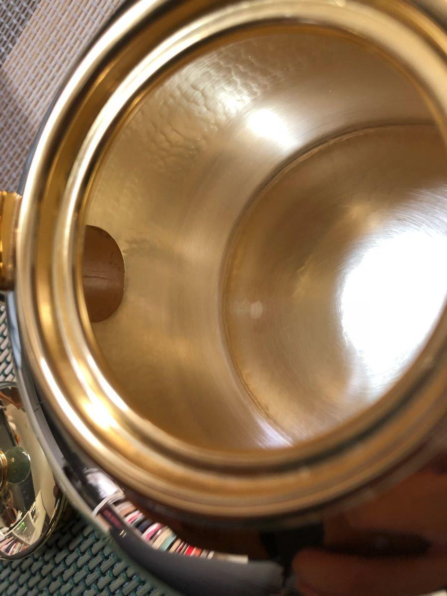 純銀鍍金 竹翁堂作 純銀刻印 共箱 未使用 湯沸 日本茶道具 煎茶 銀瓶 口径7cm 直径14cm 高20cm 重580g 容量1リットル_画像8