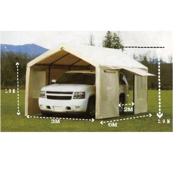 新モデル スチールフレームキャノピー カーポート 車庫 3m×6m×2.9m スチール キャノピー 簡易車庫 テント_画像2