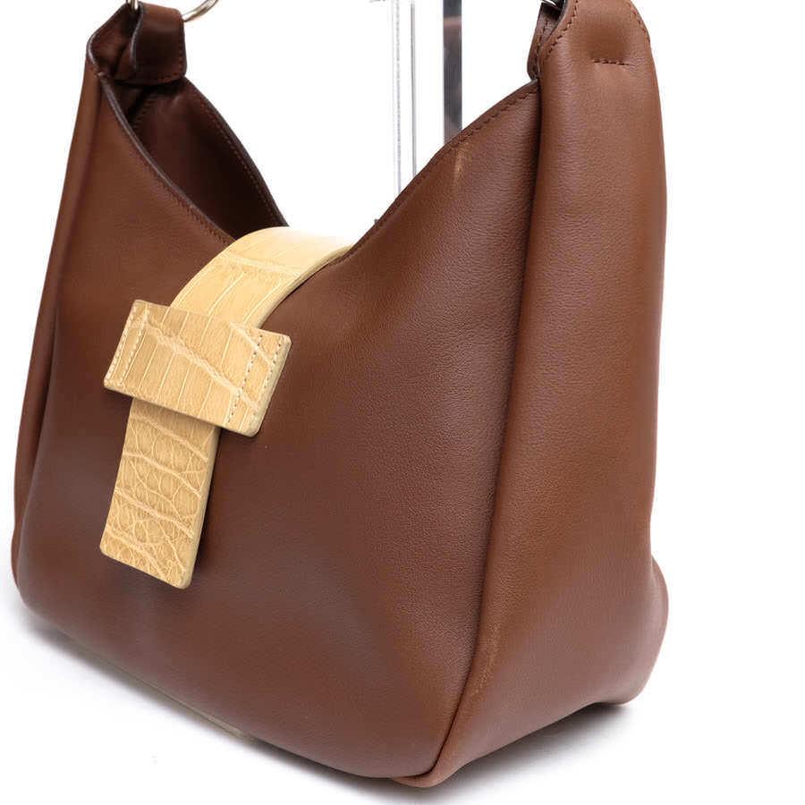 MAURO GOVERNA マウロゴヴェルナ トートバッグ ハンドバッグ 鞄 ワンショルダー 肩掛け イタリア製 レディース レザー 革 c2038_画像4