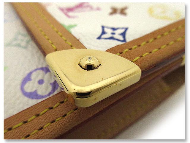 中古美品 ルイヴィトン LOUIS VUITTON 長財布 モノグラム マルチカラー ポルトトレゾール インターナショナル M92659 ブロン 白 ホワイト_金具に小傷やスレ、少しのメッキ剥がれあり