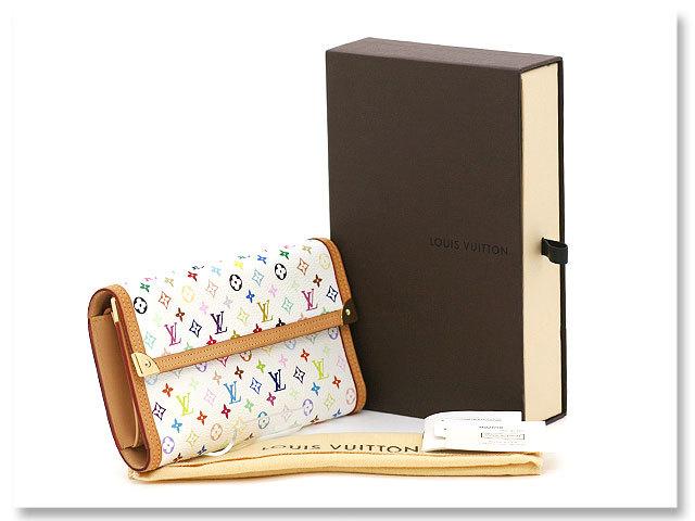 中古美品 ルイヴィトン LOUIS VUITTON 長財布 モノグラム マルチカラー ポルトトレゾール インターナショナル M92659 ブロン 白 ホワイト_外箱、保存袋ついてます