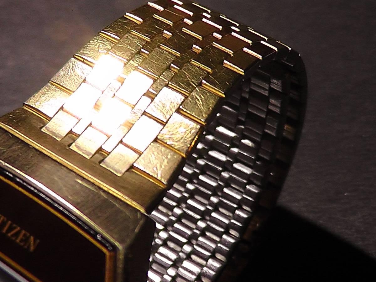 CITIZEN CRYSTRON LC◆ゆうパケット可◆70年代!シチズンクリストロン腕時計ゴールド×ブラウン◆クォーツ*デジタル*金*レトロ*ビンテージ_画像5