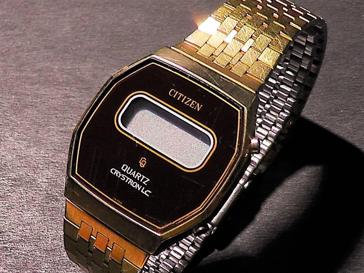 CITIZEN CRYSTRON LC◆ゆうパケット可◆70年代!シチズンクリストロン腕時計ゴールド×ブラウン◆クォーツ*デジタル*金*レトロ*ビンテージ
