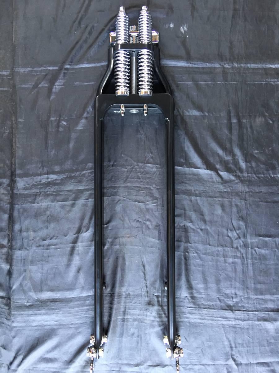 スプリンガーフォーク 8インチオーバー フロントスプリンガー黒8インチ ブラック ナックル パン ショベル スポーツスター スプリンガー_画像1