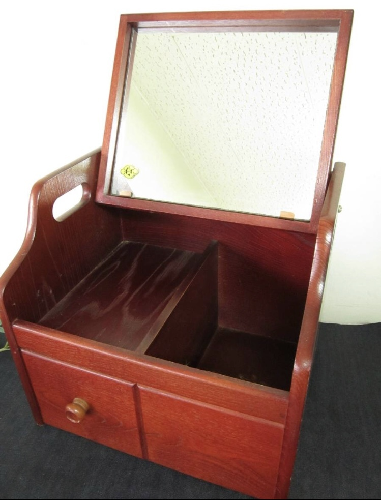 卓上ドレッサー 昭和レトロ 小物入れ 木製 コンパクト メイクボックス 収納 古道具 引き出し アンティーク_画像3