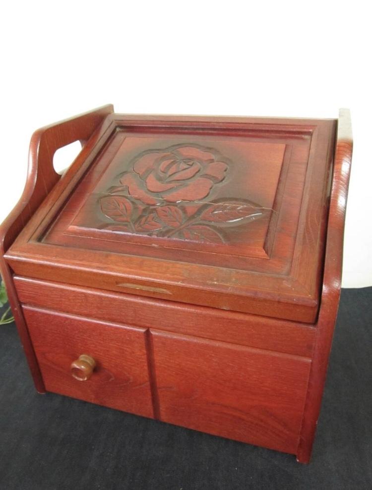 卓上ドレッサー 昭和レトロ 小物入れ 木製 コンパクト メイクボックス 収納 古道具 引き出し アンティーク