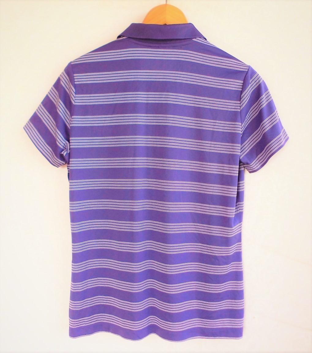 即決、ナイキNIKE GOLF ツアーパフォーマンス 吸汗速乾DRYゴルフ半袖ポロシャツ/レディースL紫ボーダー/ボーイング刺繍ロゴ/送料185円_画像3