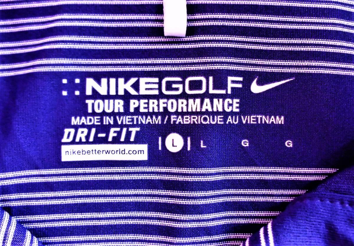 即決、ナイキNIKE GOLF ツアーパフォーマンス 吸汗速乾DRYゴルフ半袖ポロシャツ/レディースL紫ボーダー/ボーイング刺繍ロゴ/送料185円_画像5