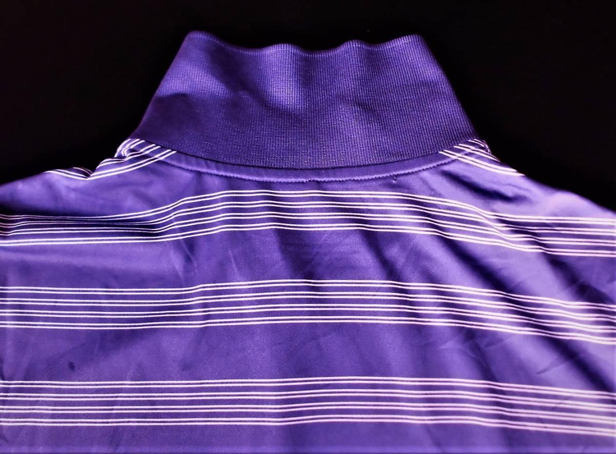 即決、ナイキNIKE GOLF ツアーパフォーマンス 吸汗速乾DRYゴルフ半袖ポロシャツ/レディースL紫ボーダー/ボーイング刺繍ロゴ/送料185円_画像7
