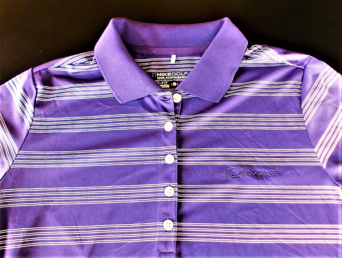 即決、ナイキNIKE GOLF ツアーパフォーマンス 吸汗速乾DRYゴルフ半袖ポロシャツ/レディースL紫ボーダー/ボーイング刺繍ロゴ/送料185円_画像1