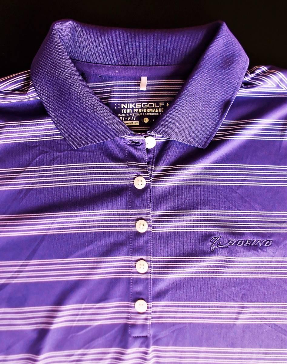 即決、ナイキNIKE GOLF ツアーパフォーマンス 吸汗速乾DRYゴルフ半袖ポロシャツ/レディースL紫ボーダー/ボーイング刺繍ロゴ/送料185円_画像4
