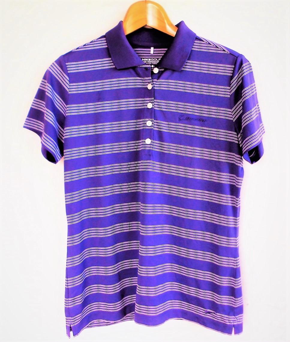 即決、ナイキNIKE GOLF ツアーパフォーマンス 吸汗速乾DRYゴルフ半袖ポロシャツ/レディースL紫ボーダー/ボーイング刺繍ロゴ/送料185円_画像2