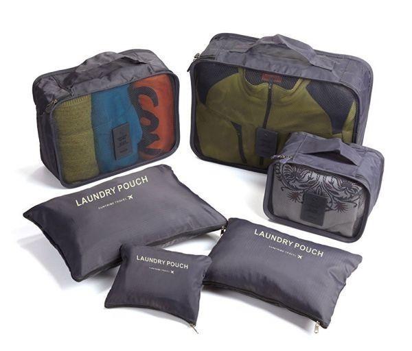 p072 (ピ・トラベル) P.travel アレンジケース トラベルポーチ 7点セット (グレー) スーツケース インナーバッグ 整理 旅行