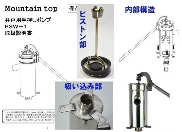 安心1年保証 ステンレス製 手押しポンプ 取扱説明書付 井戸用 排水 取水 ガーデニング_画像2