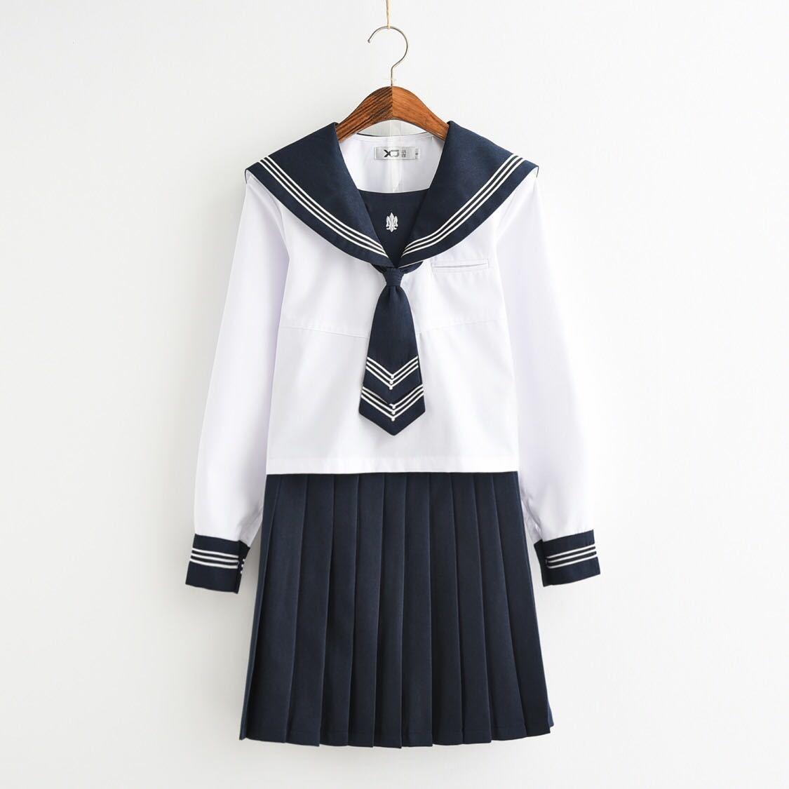 即日発送学生服 長袖 S、M、L、XL、サイズ 上下セット 4点セットセーラー服 白色+ネイビー十ネクタイ 女子制服 JK制服 コスプレ 高校生