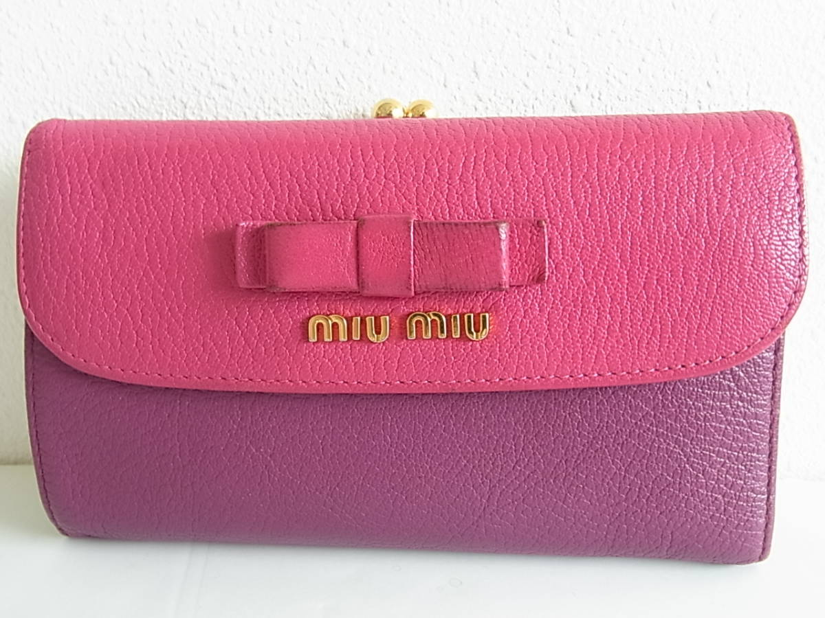 ミュウミュウ 三つ折り財布 がま口 コンパクト財布 紫 ピンク_画像1