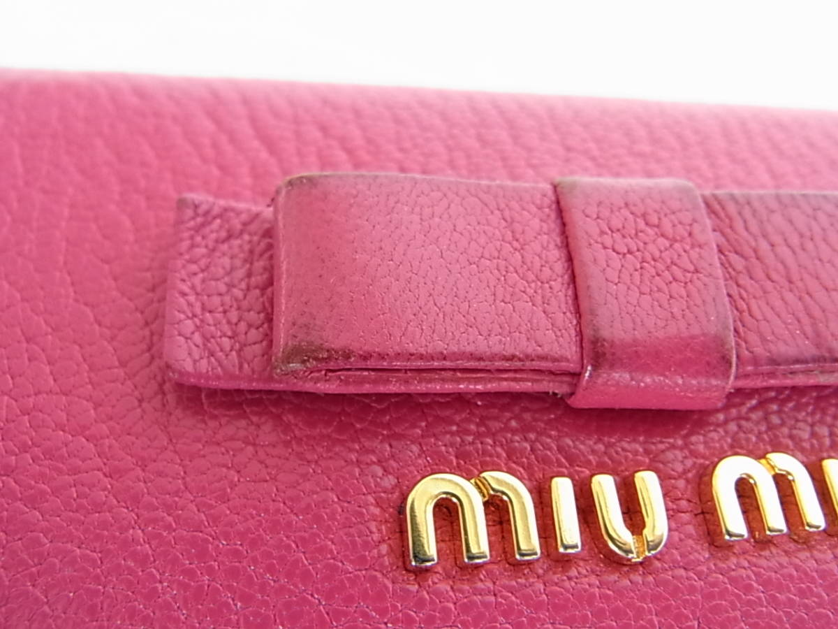 ミュウミュウ 三つ折り財布 がま口 コンパクト財布 紫 ピンク_画像8