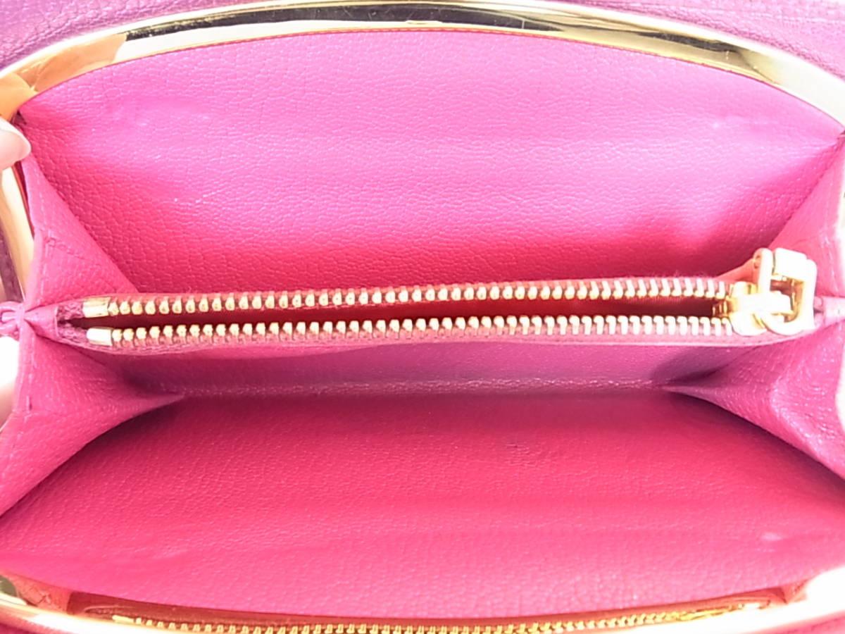 ミュウミュウ 三つ折り財布 がま口 コンパクト財布 紫 ピンク_画像7