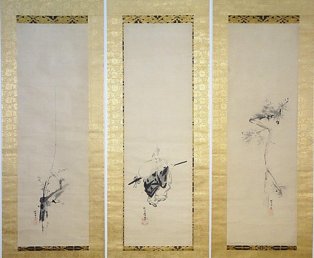 【掛け軸】 狩野探幽 「福禄寿松梅・三幅対」 古筆の極あり 江戸時代前期の画家 狩