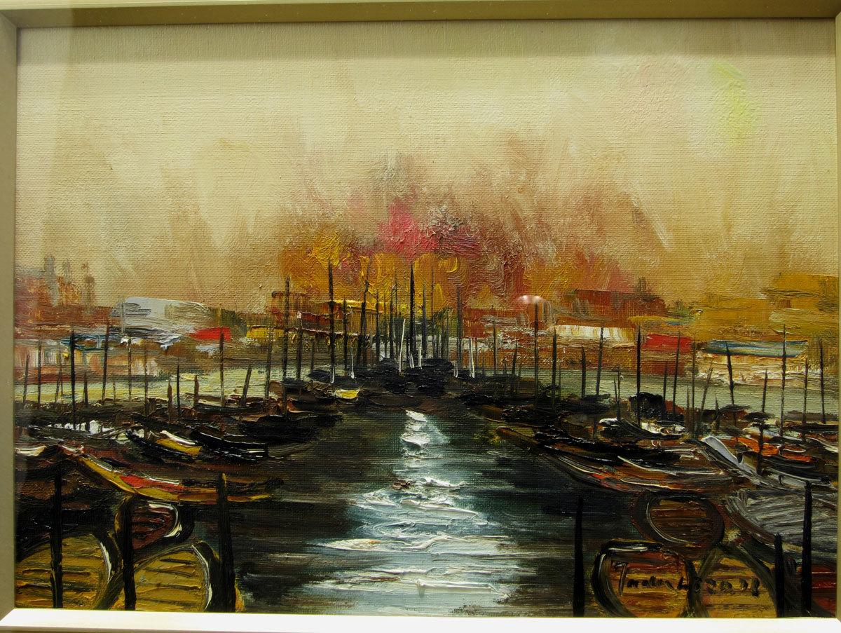中谷 忠弘 「船のある風景」 油彩 真作保証 F4号_画像3