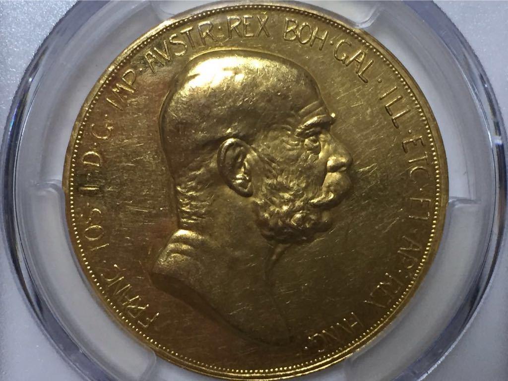 【名品】 オーストリア 1908年 雲上の女神 100コロナ金貨 PCGS AU55
