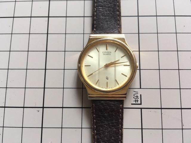 K817 稀少 レア ヴィンテージ CITIZEN/シチズン CQ 3針 ゴールド6031 G05220K クオーツ メンズ 腕時計_画像1