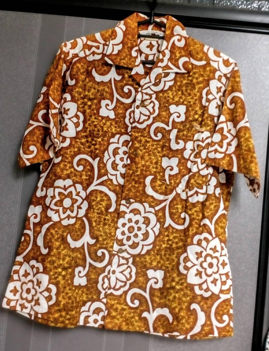 74956472 free shipping!! US old clothes MADE IN HAWAII 70s Vintage aloha shirt  Hawaiian shirt