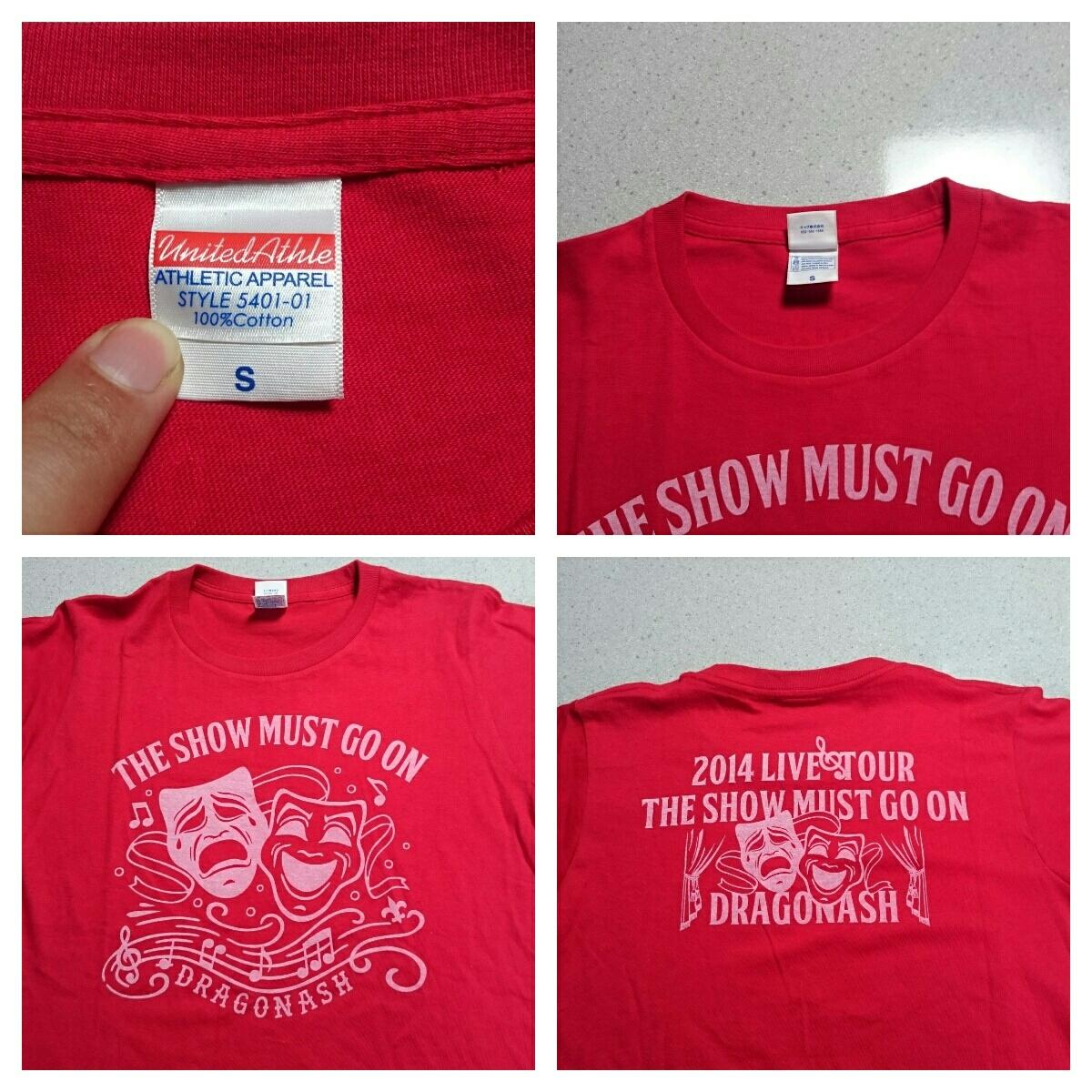 3 美品 DRAGON ASH ドラゴンアッシュ 2014 THE SHOW MUST GO ON ライブツアーTシャツ ロックT バンドT Sサイズ 赤_画像3