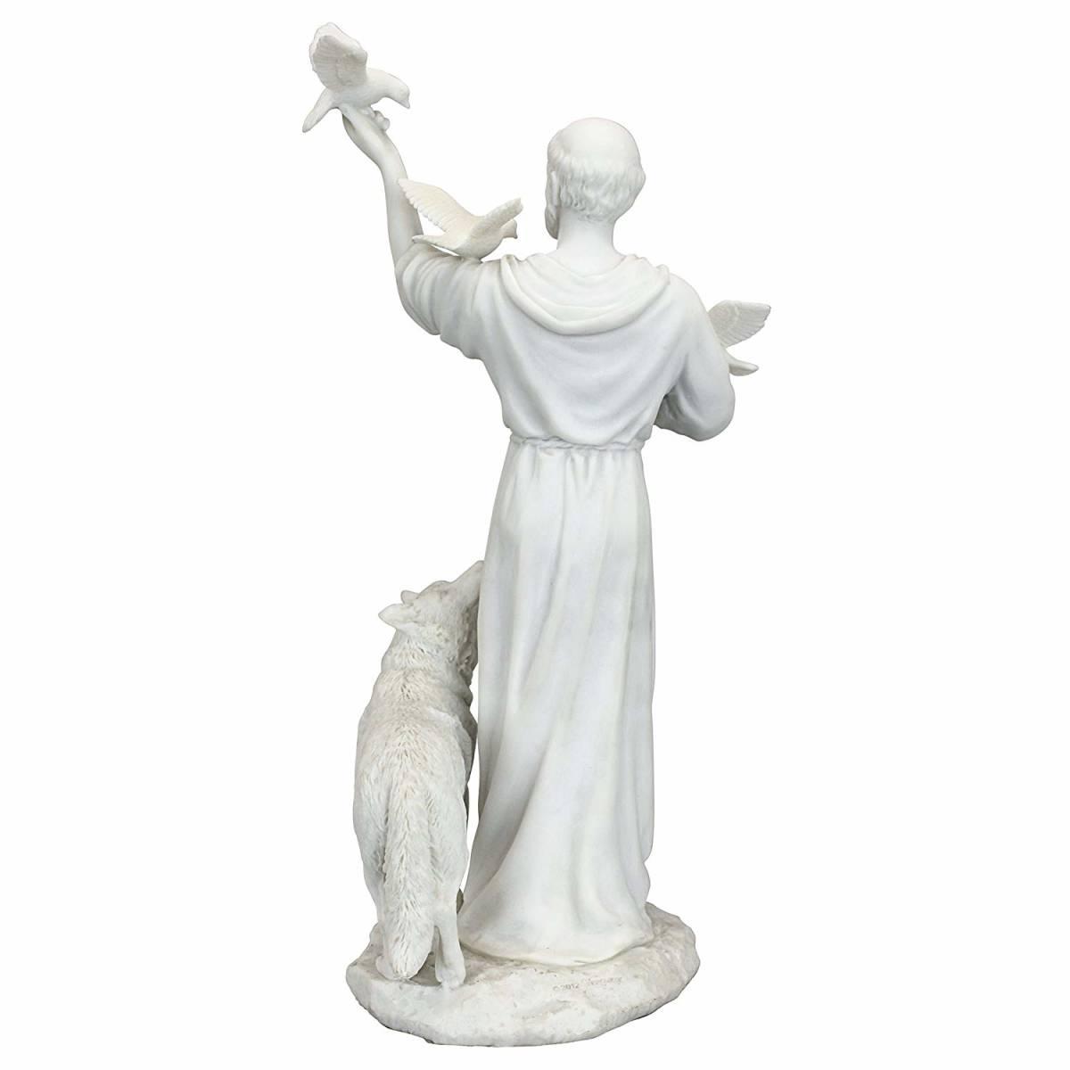 デザイン・トスカノ製 聖フランシスコと森の友達 大理石風 彫像 彫刻/ St. Francis and Friends of the Forest (輸入品)_画像4