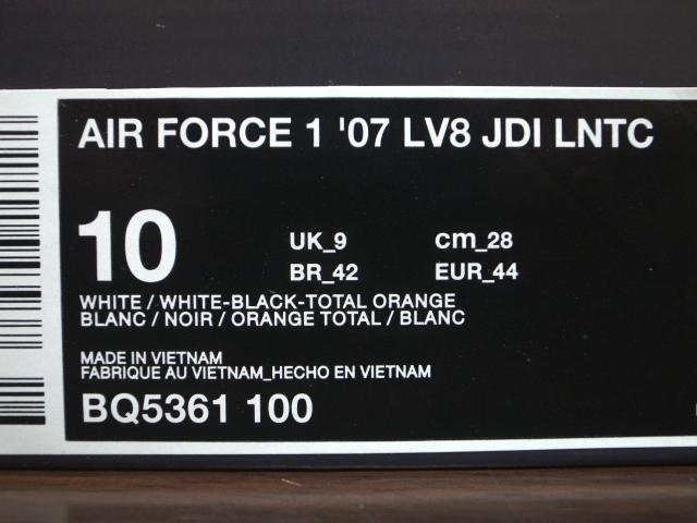 18年製 NIKE AIR FORCE 1 LV8 JDI LNTC ナイキ エアフォース ローカット AF1 JUST DO IT SWOOSH 【BQ5361-100】ホワイトレザー 白 US10_画像8