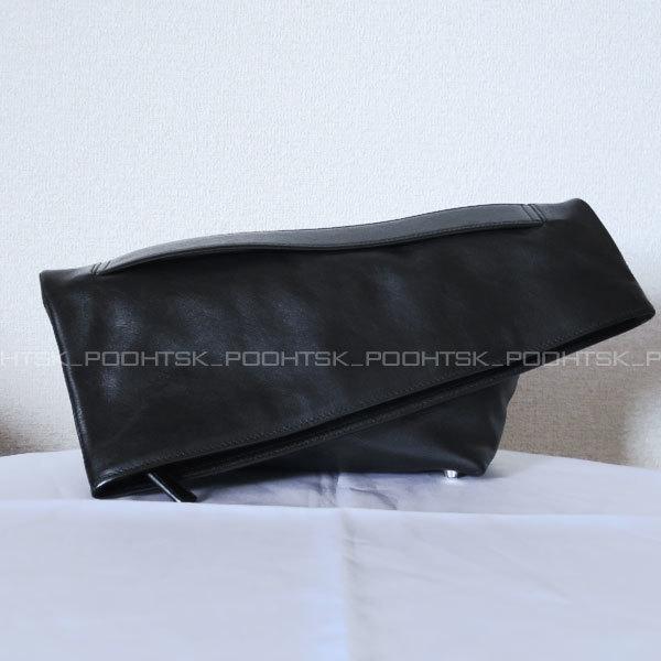 ジル サンダーJIL SANDERジオメトリック アシンメトリー オーバーサイズ ラージ シャープ クラッチ ハンド バッグ ブラック_画像2